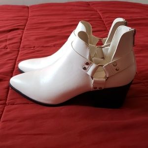 F21 Faux Leather White Booties